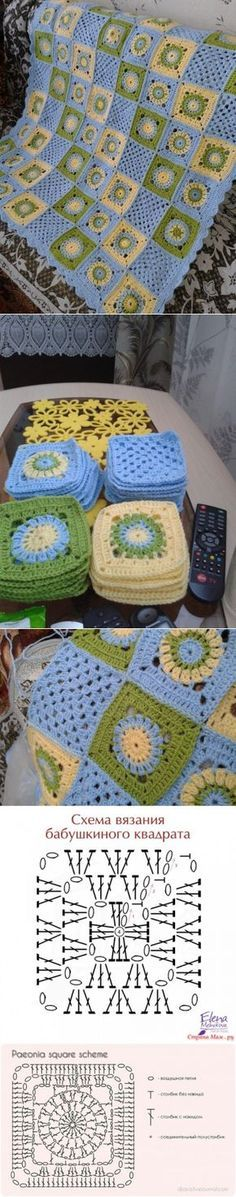 Discover thousands of images about Crochet afghan inspiration. Crochet Quilt Pattern, Crochet Diagram, Crochet Squares, Crochet Blanket Patterns, Crochet Granny, Baby Blanket Crochet, Crochet Motif, Crochet Stitches, Crochet Hooks