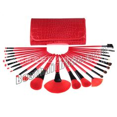 Type:Featured Brush Set Quantity:24 Brush Hair:Artificial fibre Handle Color:Dark red Usage:Makeup