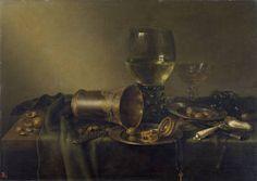 """Bodegón con vaso de plata y reloj"", Willem Claesz Heda, 1633 Memento Mori, Dutch Still Life, Madrid, Museum, Dutch Artists, Artwork, Utrecht, Paintings, Illustrations"