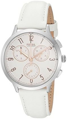 Fossil Womens Abilene Quartz Stainless Steel and Leather Casual Watch ColorWhite Model CH4000 -- For more information, visit image link. Note: It's an affiliate link to Amazon