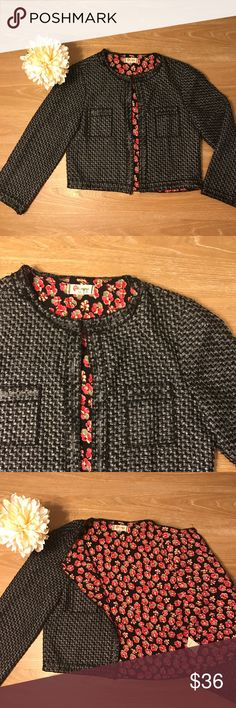 """OLSENBOYE BLACK FLOWER JACKET 💗OLSENBOYE brand . Black outside and flowers inside. No stains, rips or holes. Length: 17"""", sleeves length: 19.5, armpit to armpit: 18"""".           💗Condition: EUC, No flaws 💗Smoke free home 💗No trades, No returns,  💗No modeling  💗Shipping next day 💗OPEN TO reasonable OFFERS  💗BUNDLE and save more 💗All transactions video recorded to ensure quality. #149 Olsenboye Jackets & Coats Blazers"""