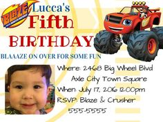 Blaze and The Monster Machines PDF Personal Photo Birthday Invitation Blaze Birthday Cake, Birthday Cakes, Birthday Parties, Paw Patrol Birthday Invitations, Photo Birthday Invitations, Photo Quality, Digital Invitations, Personal Photo, Some Fun
