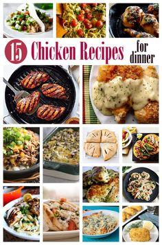 15 Chicken Recipes for Dinner at AmandasCookin.com @amandaformaro