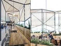 Restaurante Dehesa Santa María en T1 del aeropuerto de Barcelona, diseño de Dear…