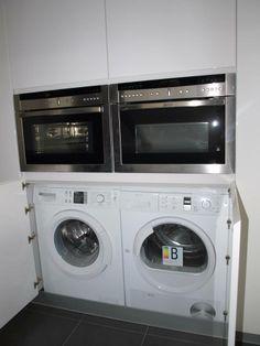 Lavadora de libre instalaci n integrada en cocina con for Mueble lavadora secadora