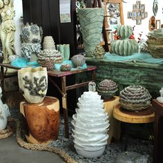 Oceania, hand made ceramics created in Northern Thailand. Support ethical and sustainable trade. Rustic Furniture, Vintage Furniture, Northern Thailand, Indoor Outdoor Living, Interior And Exterior, Recycling, Ceramics, Create, Handmade