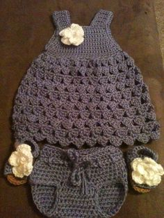 Crocheted Baby outfit with crocheted sandals