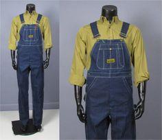 Denim Overalls  Mens Vintage 1960s Washington Dee by jauntyrooster