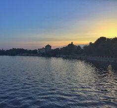 Sunset at the lake . . . #bluesky #castle #water #sky #skiesofinstagram #hungary #sunset #lake #sun #summer #hot