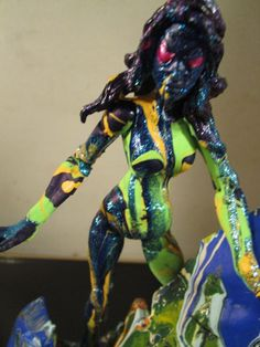 ABSTRACT custom hand painted figure and base by artist musk yai marvel female #Unbranded