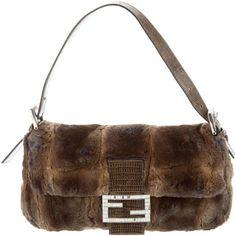 Pre-owned Fendi Lizard-Trimmed Fur Baguette ($395) ❤ liked on Polyvore featuring bags, handbags, animal print, fur purse, multi color purse, multi coloured handbags, preowned handbags and multi colored purses