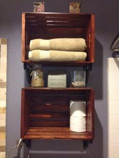 Using crates for above the toilet bathroom shelves. Great storage and super cute!  (inexpensive too)