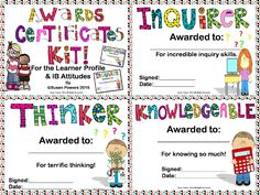 Bright and fun! Awards certificates for the Learner Profile and the Attitudes on one convenient and colourful packet.