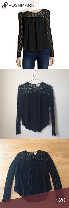 Black Lace Peasant Top Never worn, size XS, black Arizona Jean Company peasant top with lace. Body: 100% rayon, sleeves: 61% cotton & 39% nylon. Arizona Jean Company Tops Blouses