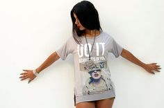 Women rock and roll printed gray T shirt loose fitting