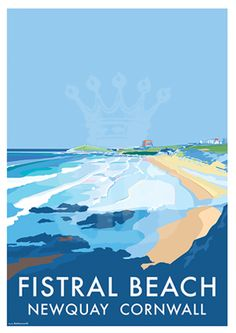 Fistral Newquay vintage style travel poster and seaside print forms part of the British Coastlines travel art collection. Created by Devon Artist Becky Bettesworth. Posters Uk, Art Deco Posters, Illustrations And Posters, Surf Posters, Poster Prints, Retro Posters, Region Bretagne, Beach Illustration, Newquay