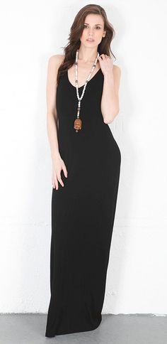 Feel the Piece V-Neck Maxi Dress in Black at Thera M.