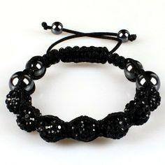 10mm Black Crystals Macrame 7pcs Beaded Shamballa Ball Adjustable Bracelet Shamballa. $9.37. Macrame Bracelet. Adjustable. Black Crystal