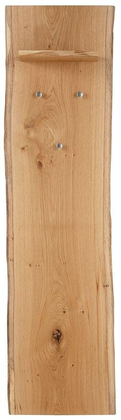 Paneel »Baumkante«. Garderobenpaneel mit einem Ablageboden und 3 Kleiderhaken. Maße (B/T/H): 40/22/160 cm.   Garderobe im außergewöhnlichen Design. Die natürlichen Seitenkanten der Bretter werden erhalten und unterstreichen zusammen mit der lebhaften Maserung den Charme dieser Möbel. Aus massiver Eiche, geölt. Die Garderobenteile sind handgefertigt, dadurch können Maßabweichungen von bis zu 3 c...
