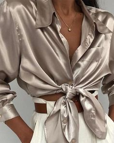 Black Friday Solid Casual Collar Long Sleeve Blouses top online fashion store for women. Shop sexy club jeans, shoes, bodysuits, skirts and more . Stylish Shirts, Stylish Outfits, Office Outfits, Satin Blouses, Shirt Blouses, Women's Shirts, Modest Fashion, Fashion Outfits, Womens Fashion