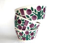 Pottery serving dishes set of 3 ceramic bowls nest fifties retro vintage plum and green spritzdekor west german tree of life tableware salad