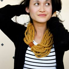 This beginner crochet project uses only chains and a scrap of leather.