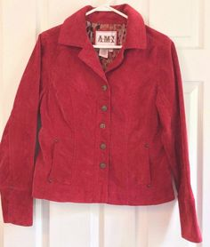 AMI Corduroy Jacket Size M Red Button Front Side Pockets Collared Tailored Cute #AMI #JeanJacketinCorduroy
