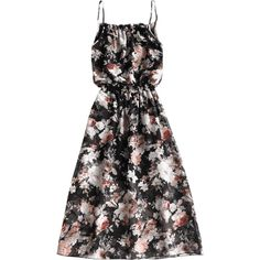 Ruffles Floral Print Chiffon Cami Dress (99 BRL) ❤ liked on Polyvore featuring dresses, floral cami, cami dress, floral camisole, flower pattern dress and print dress