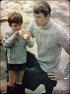 """Adorable!! """"No134 PDF Vintage Knitting Pattern Father Son's by TickTockKnits,"""" .... One day this will be happening.... :)"""