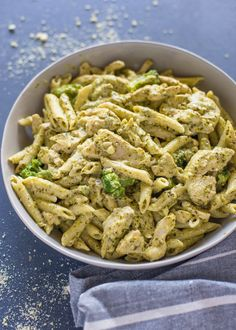 Chicken pesto pasta - I added roasted vine cherry tomatoes and mushrooms and excluded the broccoli (feta instead of Parmesan - didn't have any), not too much cream, half a jar of pesto. Soooo Good.