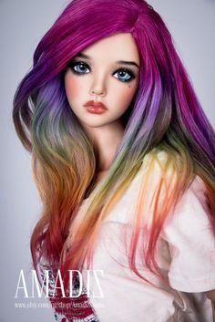 Rainbow splash (natural alpaca wig for bjd SD, MSD, Tiny) от AmadizStudio