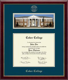 Coker College Diploma Frame - Showcases a beautiful panoramic photo of Davidson Hall mounted above your diploma. It is presented with navy and gold museum matting in our high-gloss Galleria cherry moulding.    This frame fits a Bachelors and Masters degree if you graduate prior to December 2013.