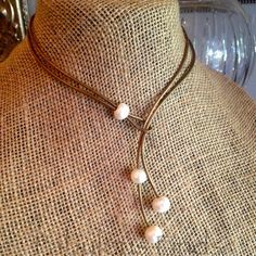 Freshwater Pearl and Bronze Leather Triple by loveFabulousFinds, $34.00