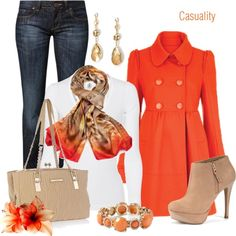 """""""Printed Orange Scarf & Orange Coat"""" by casuality Winter Outfits, Casual Outfits, Cute Outfits, Sexy Outfits, Casual Wear, Kids Outfits, Mode Style, Style Me, Look Formal"""
