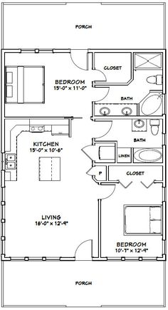28x36 House -- #28X36H2D -- 1,008 sq ft - Excellent Floor Plans