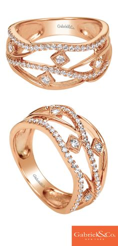 A gorgeous 14k Pink Gold Diamond Ring by Gabriel & Co. that is the perfect everyday ring! The details and designs are absolutely stunning. We love Pink Gold and Diamonds together. They make such a beautiful combo!