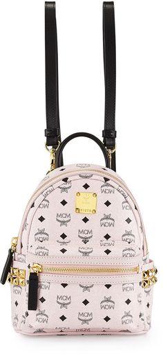 MCM Stark Visetos Mini Backpack, Chalk Pink
