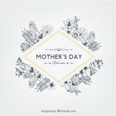 Floral madri giorno distintivo in stile retrò