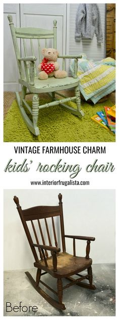 A vintage kids' rocking chair chalk painted mint green and wet distressed for chippy farmhouse charm. A lesson in listening to your gut when your head says no. Rustic Rocking Chairs, Painted Rocking Chairs, Childrens Rocking Chairs, Green Distressed Furniture, Distressed Chair, Diy Living Room Furniture, Kids Furniture, Furniture Chairs, Painted Furniture