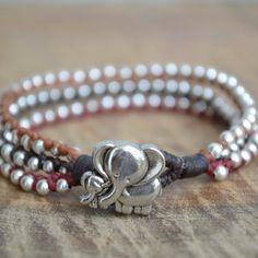 Elephant Bracelet Gift Idea, Wrap Bracelet Elephant Jewelry, Multi Strand Cuff Bracelet, Teen Girl Gift Idea -- New and awesome product awaits you, Read it now  : Handmade Gifts