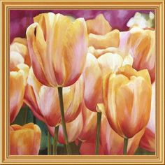 "Global Gallery 'Spring Tulips I' by Luca Villa Framed Painting Print on Canvas Size: 34"" H x 34"" W x 1.5"" D"