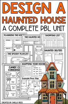 Halloween Project-Based Learning for math and reading for and grades has never been more fun and engaging! Use the Design a Haunted House PBL unit to make October math more creative. Teachers and students love this Halloween activities unit! by jacquelyn Halloween Math, Halloween Activities, Halloween Worksheets, Halloween Stories, Halloween Prop, Halloween Witches, Halloween Ideas, Happy Halloween, Halloween Decorations
