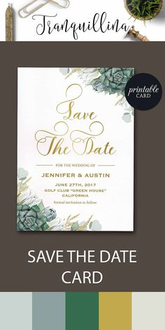 Succulent Save the Date Printable Green Floral Save the Date Card, Printable Save the Date Card Greenery Gold Boho Save the date Digital File, DIY wedding ideas. tranquillina.etsy.com