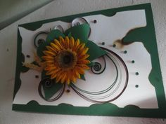 Birthday card with quilling sunflower.