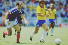 One of the greatest matches ever: Brazil  vs. France  in the 1986 World Cup Quarter-Final. End-to-End football from magicians all over the pitch. Careca's goal for Brazil is still one on the most beautiful I have ever seen -- if you haven't seen it check out the video online. This Brazil team was arguably the greatest ever although they never won a World Cup. France won the match in penalties but both teams should be applauded for their excellence #footyscout #football #soccer #footy…