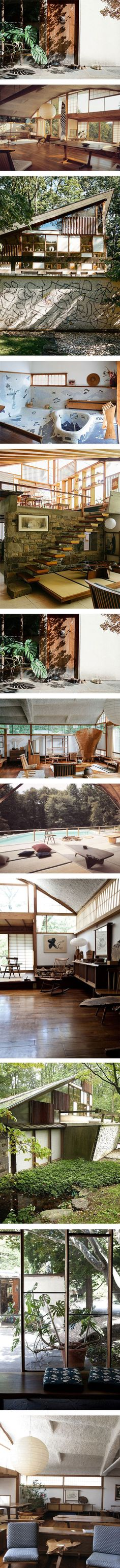 George Nakashima's Pennsylvanian estate featuring Furniture on Nuji.com #georgenakashima #architecture #pennsylvania