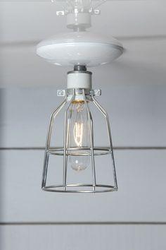 Plafondlamp kooi industriële metalen kooi Lamp door IndLights
