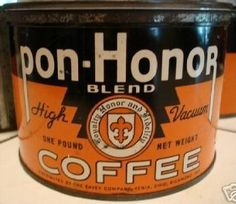 Pon-Honor Blend Coffee Coffee Stands, Coffee Tin, I Love Coffee, Vintage Tins, Vintage Coffee, Vintage Kitchen, Antique Coffee Grinder, Coffee Packaging, Blended Coffee