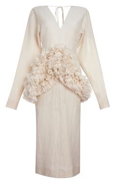 Alabaster Cotton Silk Gauze Long Sleeve Dress by Marni