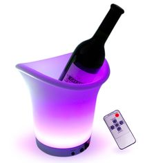 Purple wine cooler with remote!!! How awesome is this?!